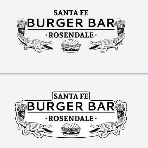 Alligator design with the title 'Logo Concept for Santa Fe Burger Bar - Fifth Pass'