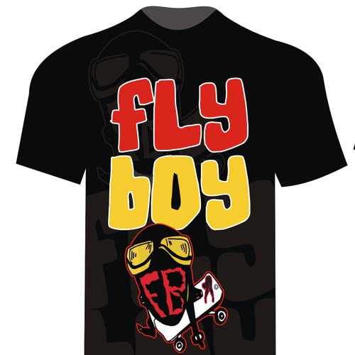 Red t-shirt with the title 'Fly boy skate t-shirt'