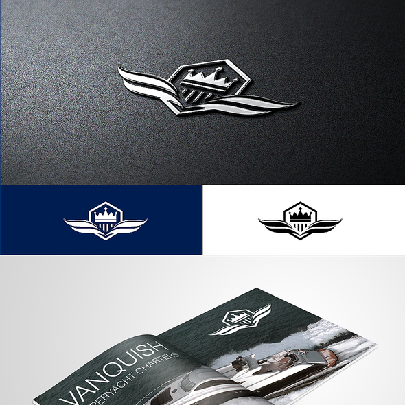 Ship logo with the title 'Create the next logo and business card for Vanquish Superyacht Charters'