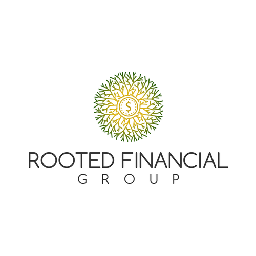 Coin brand with the title 'rooted financial group logo'