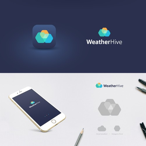 Weather design with the title 'WeatherHive logo family'