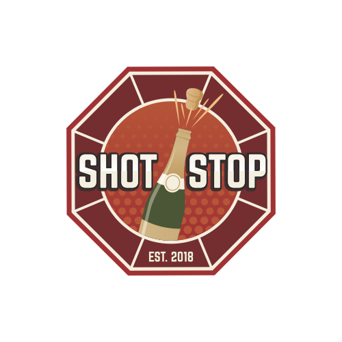 Champagne design with the title 'SHOT STOP'