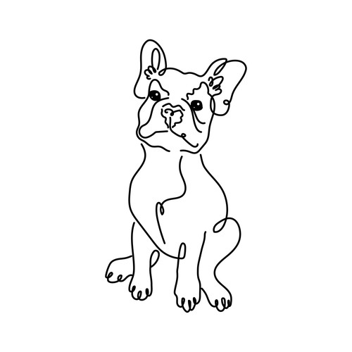 French bulldog design with the title 'Frenchie Line Art'