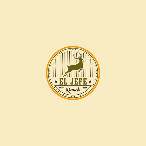 Jumping logo with the title 'Vintage logo Concept for El Jefe Ranch'