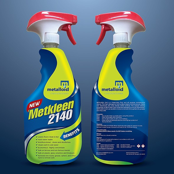 Detergent design with the title 'Creative Label for a Multi Purpose Cleaner'
