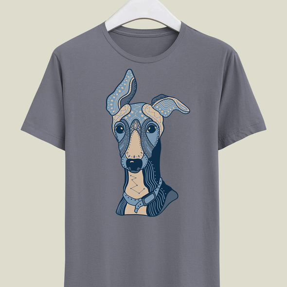 Pattern t-shirt with the title 'Greyhound dog T-shirt design'