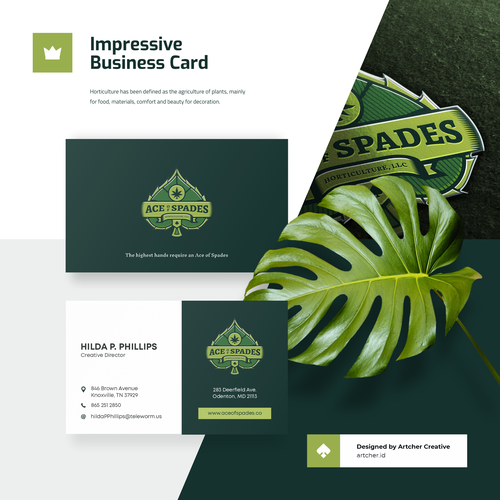 Horticulture design with the title 'Impressive Business Card'