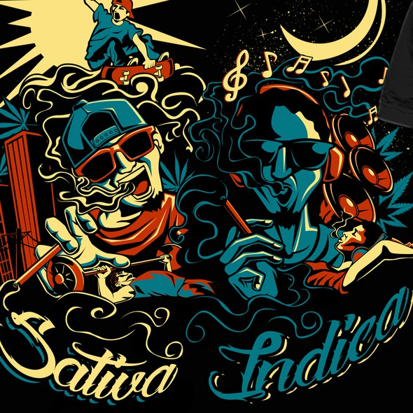 Smoking t-shirt with the title 'Day/Night, Sativa/Indica Shirt Design'
