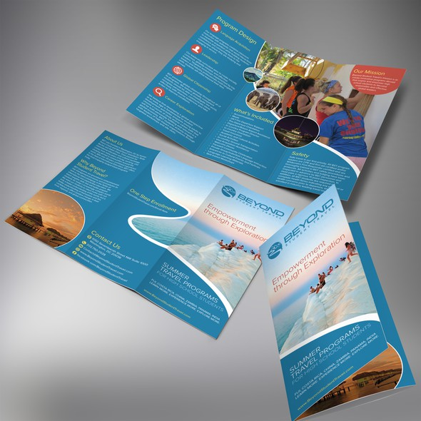 Student design with the title 'Create an exciting/adventurous/fun/professional brochure for Beyond Student Travel'