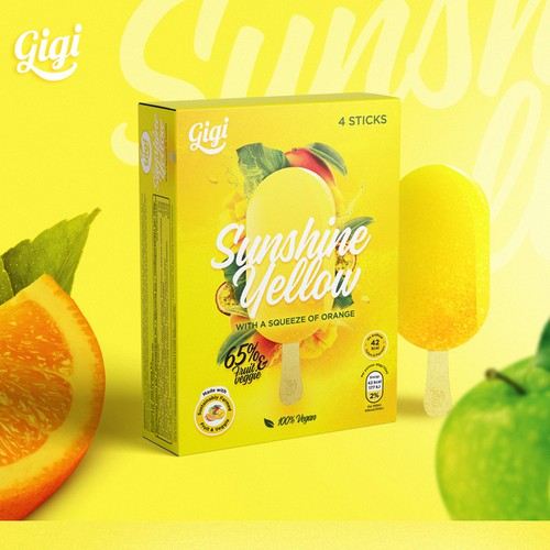 Yellow packaging with the title 'Ice cream box design as delicious as what's inside!'