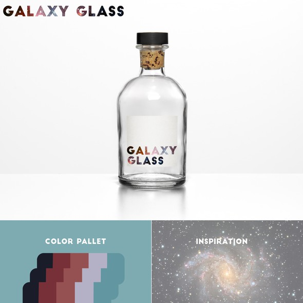 Glass bottle label with the title 'Galaxy Glass '
