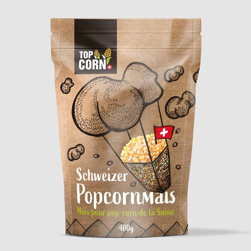 Snacks design with the title 'Popcorn'