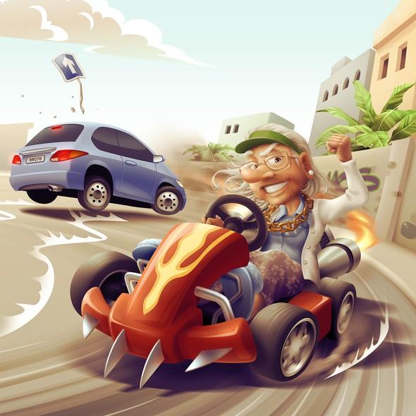 Grandma design with the title 'Granny Racer'