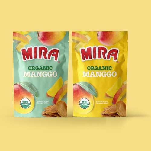 Mango packaging with the title 'Organic Dried Fruit'