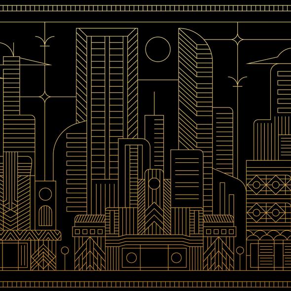 Cityscape illustration with the title 'Artdeco Cityscape '