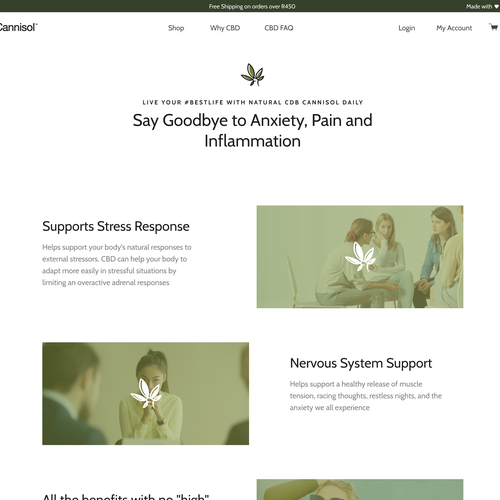 Shopify design with the title 'Why CBD Landing page'