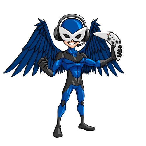 Superhero illustration with the title 'GameHawk Mascot'