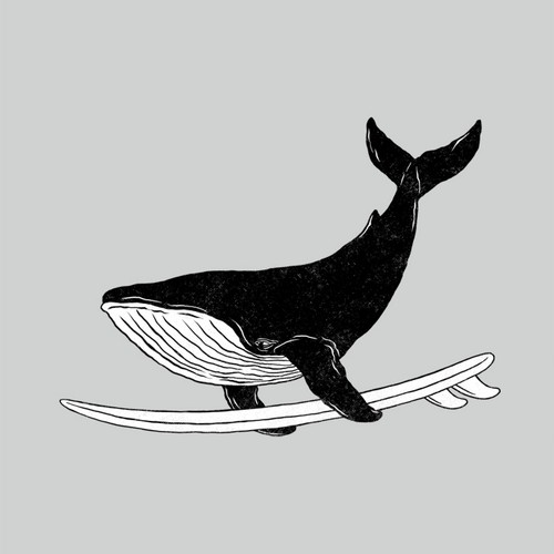 Whale design with the title 'Surfing Whale'