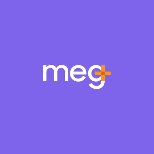 """Orange and purple logo with the title '""""meg"""" logotype'"""