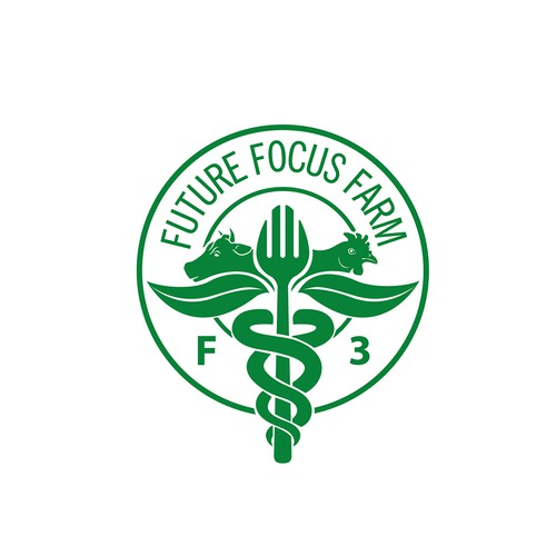 Cow, pig, and chicken logo with the title 'Logo for Future Focus Farm'