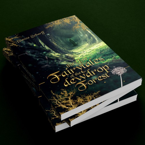 Fairy tale book cover with the title 'Dark enchanted forest Book cover'
