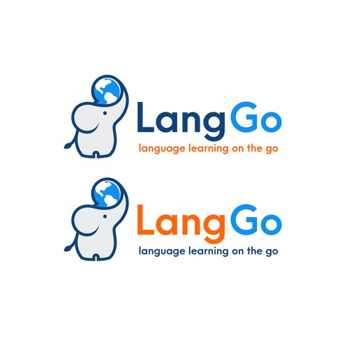 Creative design logo with the title 'A unique logo for LangGo, a service for language learning on the go'
