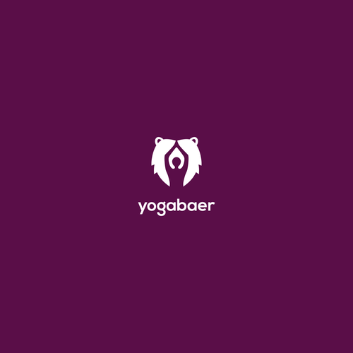 Negative space logo with the title 'yoga and bear'