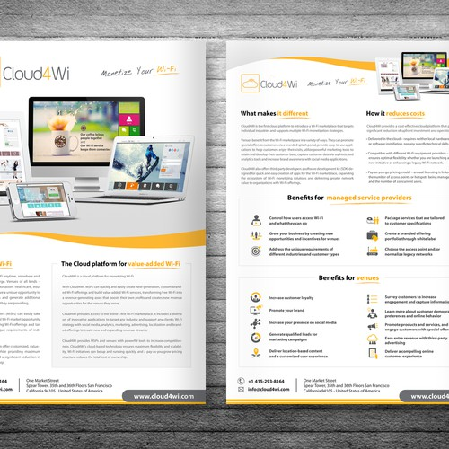 Handout design with the title 'Design a capturing Solution Brief for Cloud4Wi'