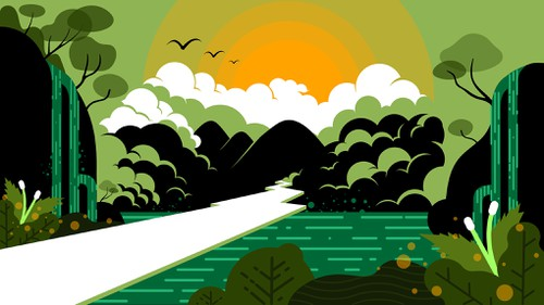 Jungle illustration with the title 'Background image for zoom '