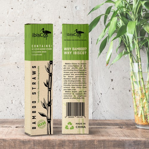 Bamboo design with the title 'Bamboo Straws Packaging'