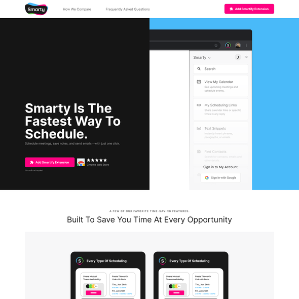 Meeting design with the title 'Calendar Management Landing page'