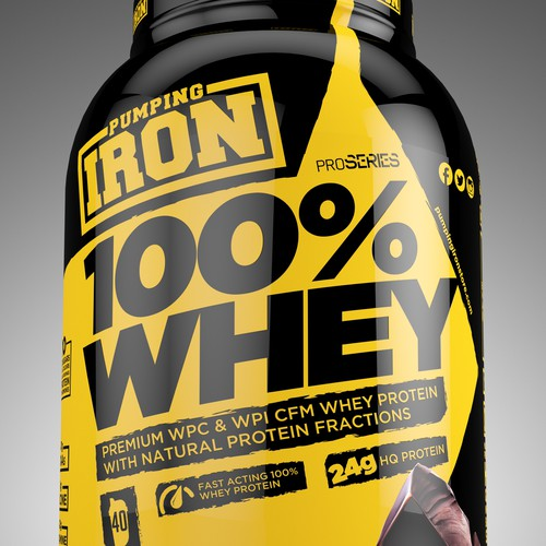 Whey packaging with the title 'PUMPING IRON WHEY PROTEIN'