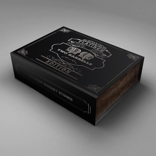 Whiskey packaging with the title 'Whiskey stones packaging'