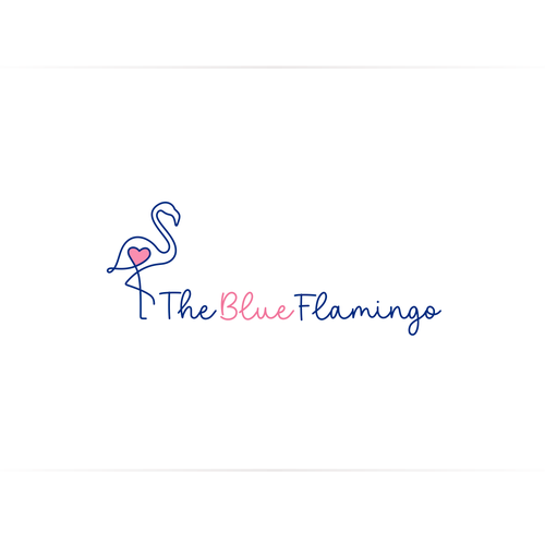 Pink and blue design with the title 'Logo or Blue Flamingo'