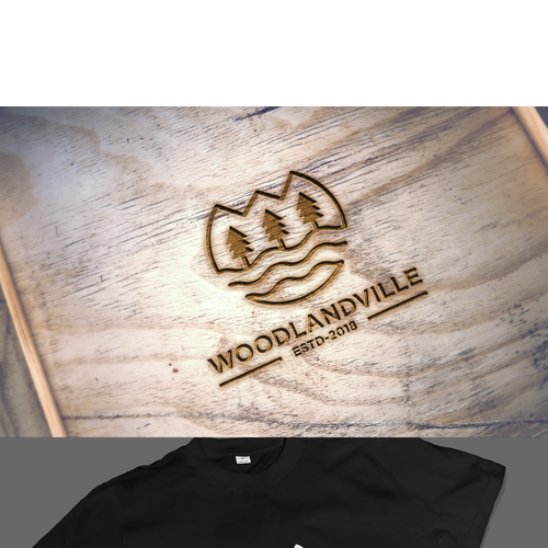 Alphabet logo with the title 'Woodlandville - We need a cool logo for our outdoor themed brand. Nothing too corporate, just something unique & outdoor'