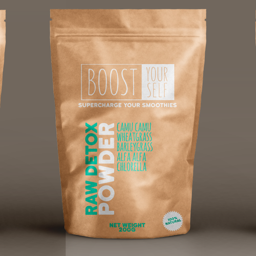 Boost design with the title 'Smoothie powder packaging'