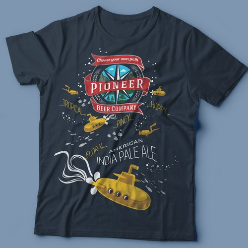 Tropical t-shirt with the title 'Pioneer Beer'