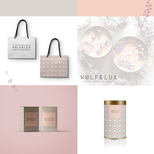 Bath design with the title 'Natural botanical candles and bath products logo design'