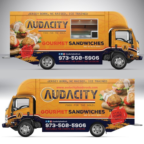 Catering design with the title 'AUDACITY Gourmet Sandwich Truck'
