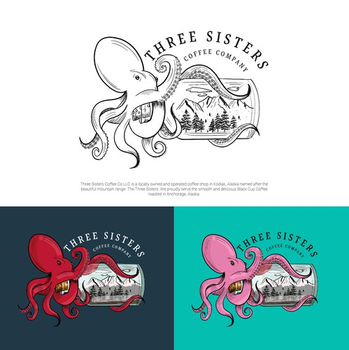 Digital art logo with the title 'Octopus and mountain design for Alaskan company'