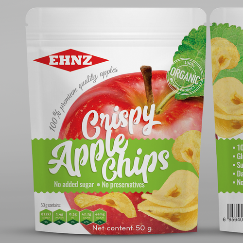 Chip design with the title 'Crispy apple chips pouch design'