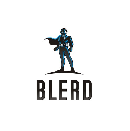Superhero cape logo with the title 'Blerd. Logo contest for African American nerds'