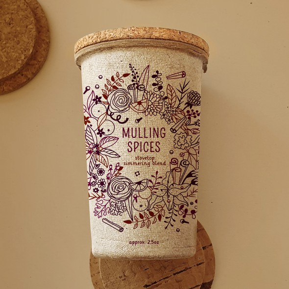 Kraft paper design with the title 'Mulling Spice label for kraft paper container.'