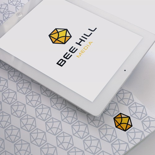 Honeycomb design with the title 'Logo designs for BeeHill Media'