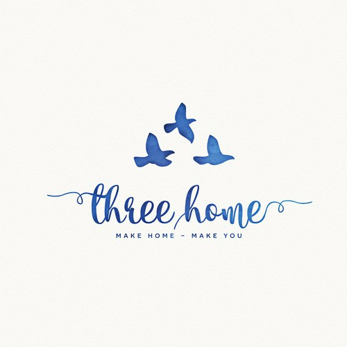 Brush stroke logo with the title 'Logo design - Three home'