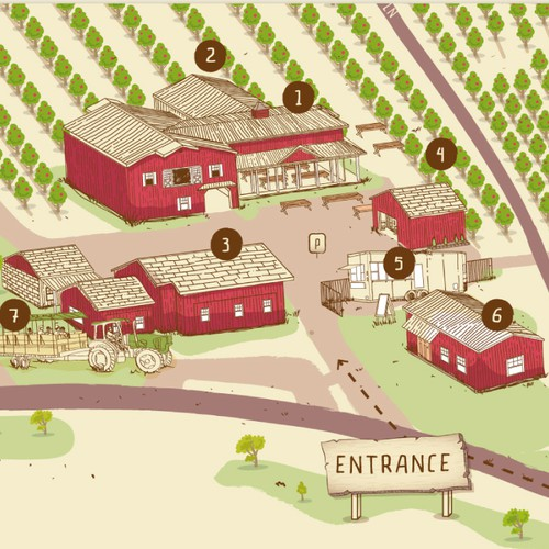 Map artwork with the title 'U-Pick Apple Orchard Map'