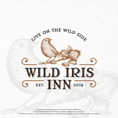 Old school logo with the title 'Wild Iris Inn'