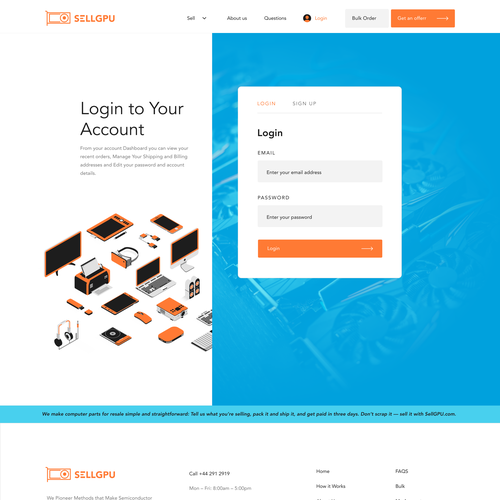 Speaker design with the title 'Login page design'
