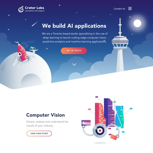 Colorful website with the title 'Craterlabs Illustration Website'