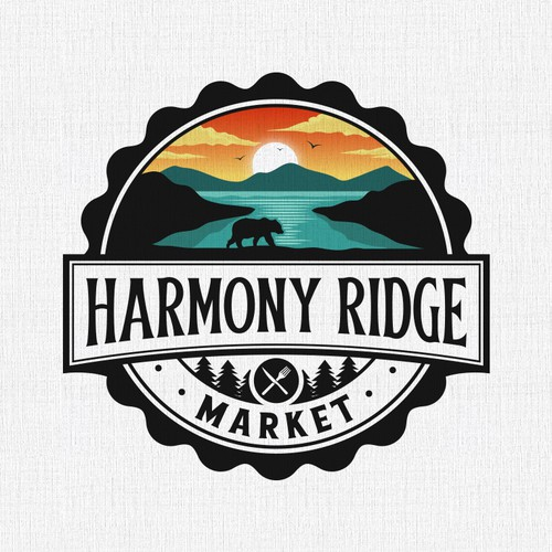 Market logo with the title 'Harmony Ridge Market'